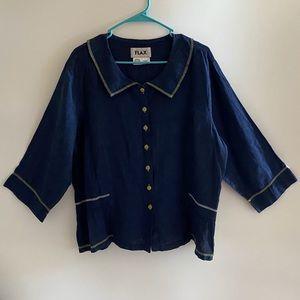 FLAX 100% Linen Navy Blue Button Up Top